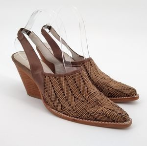 JEFFREY CAMPBELL Leather Woven Western Heels